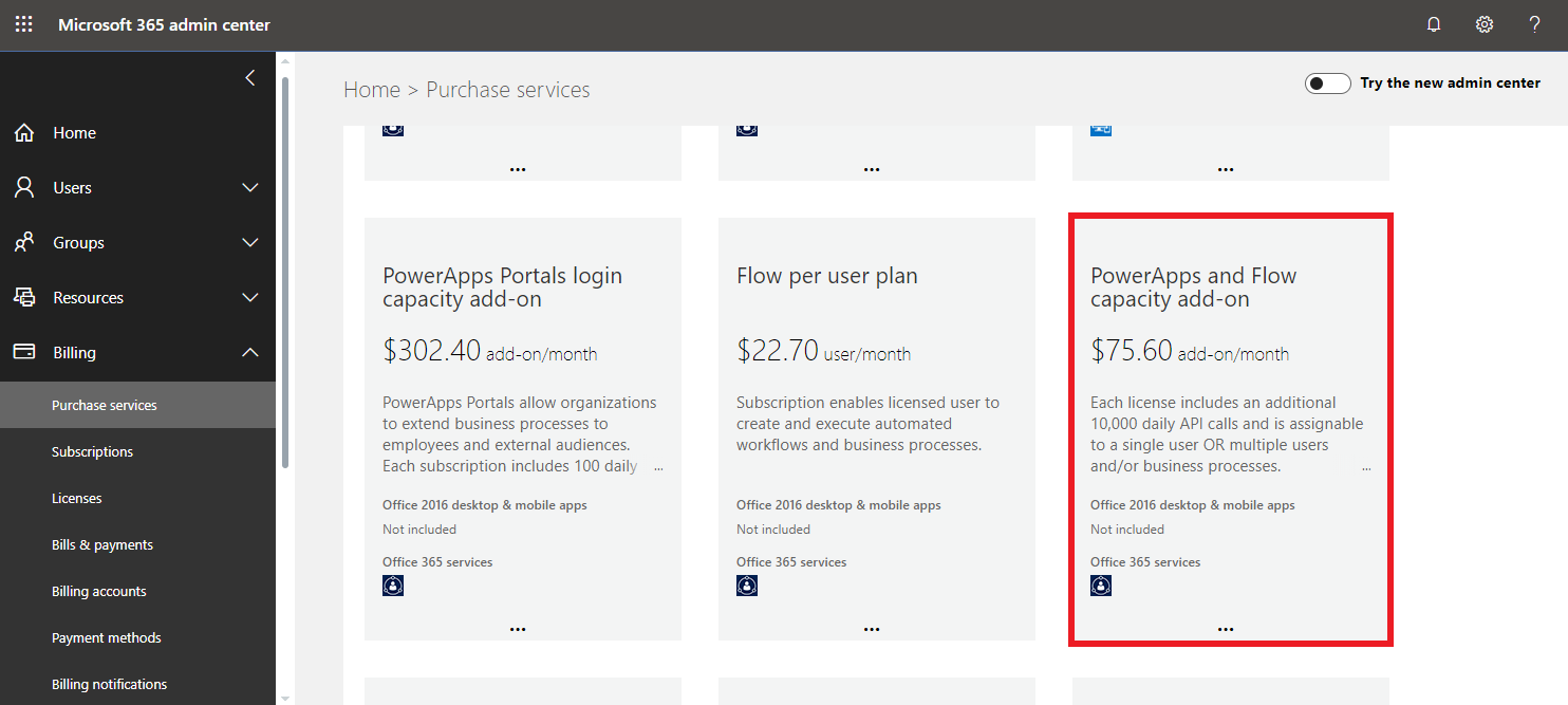 Screenshot of PowerApps and Flow capacity add-on subscription